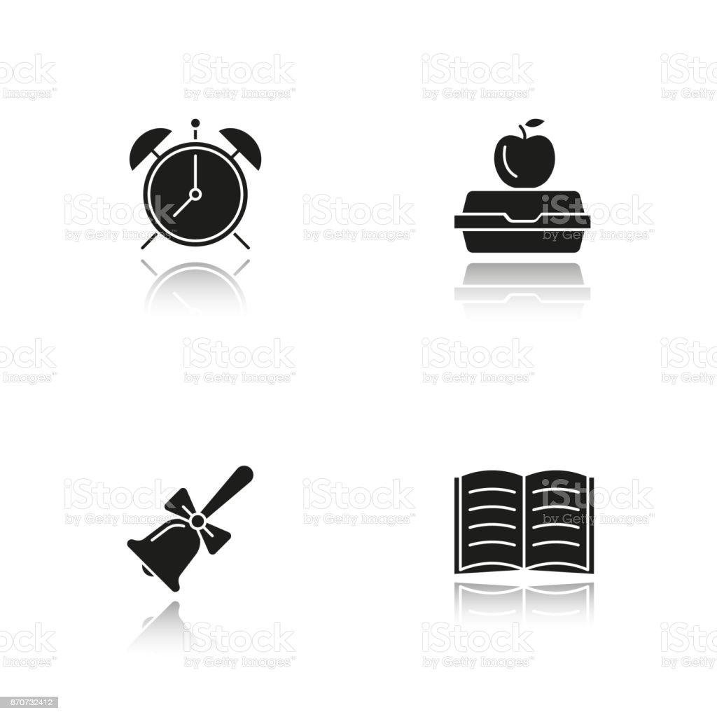 Iconos de la escuela - ilustración de arte vectorial