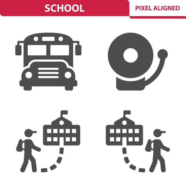 ilustrações, clipart, desenhos animados e ícones de ícones escola - ônibus escolares