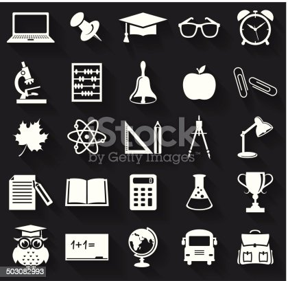 Back to school. Collection of school and education icons. Flat symbols with long shadows. Vector illustration.