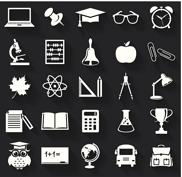 School icons. Vector set. Back to school. Collection of school and education icons. Flat symbols with long shadows. Vector illustration. laboratory glassware stock illustrations