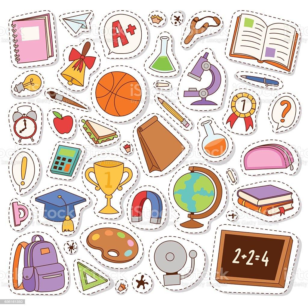 School icons vector stickers. - ilustração de arte em vetor