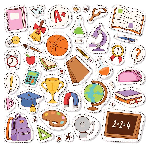 stockillustraties, clipart, cartoons en iconen met school icons vector stickers. - patchwork