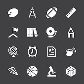 School Icons White Series Vector EPS10 File.
