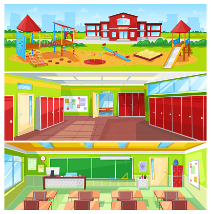 School Interior and Outdoor Yard Colorful Banner