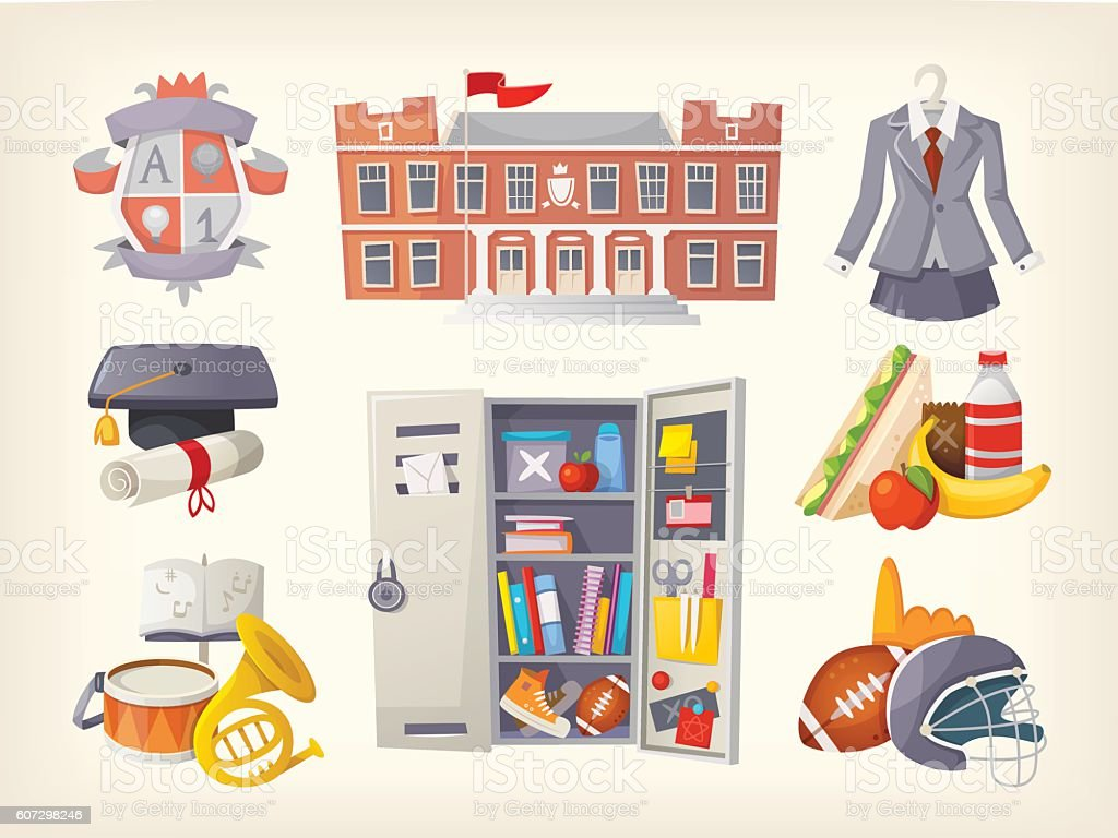 School items and stickers vector art illustration