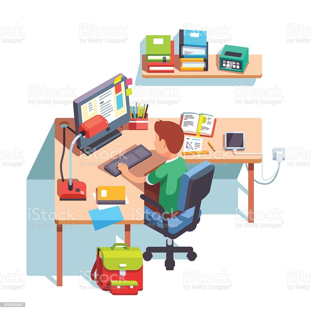 Boy Sitting In Front Of Laptop Screen And Smiling Vector