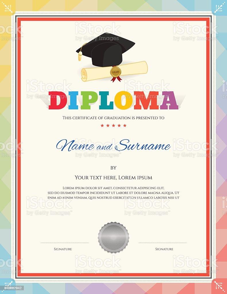 Ilustración de Diploma De La Escuela Para Niños Certificado ...