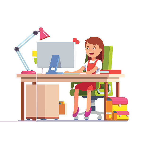 school kid girl studying in front of the computer - chefin stock-grafiken, -clipart, -cartoons und -symbole
