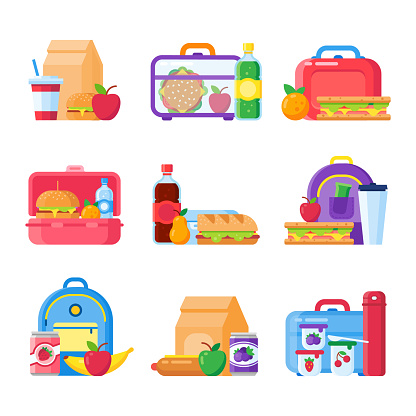 School kid lunch box. Healthy and nutritional food for kids in lunchbox. Sandwich and snacks packed in schoolkid meal bag vector icons