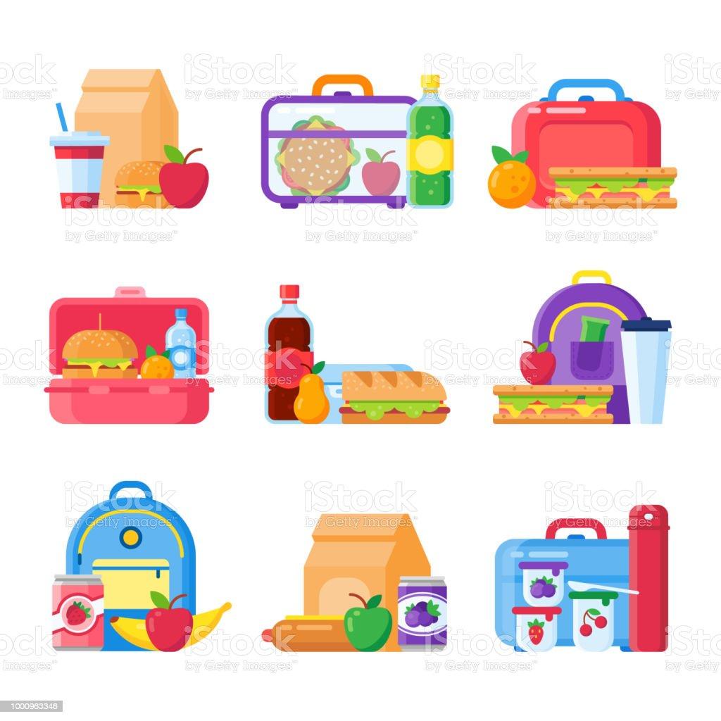 Caja de almuerzo de niños de escuela. Alimentos sanos y nutritivos para los niños en la lonchera. Sandwich y bocadillos envasados en los iconos de vector de los bolsa de comida del potache - ilustración de arte vectorial