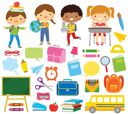 School kids and school supply clipart