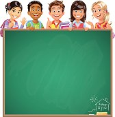 Vector illustration of five happy school children of different ethnicities peeking behind a blackboard in the classroom, ready for your text.