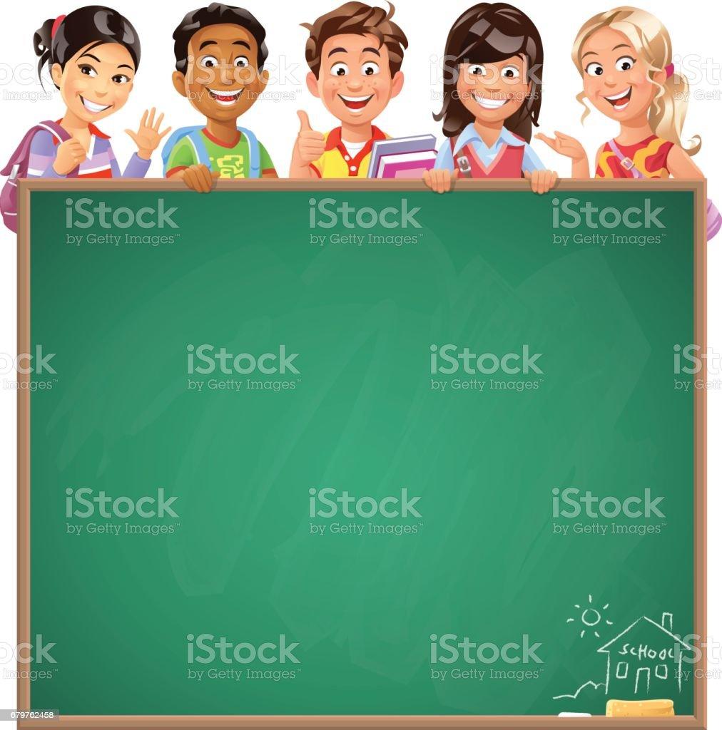 School Kids Behind Blackboard vector art illustration