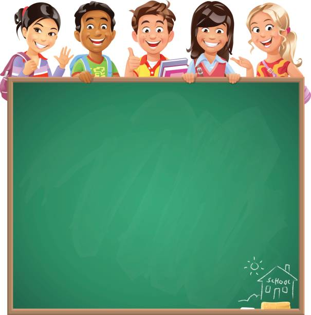 school kids behind blackboard - primary school stock illustrations, clip art, cartoons, & icons