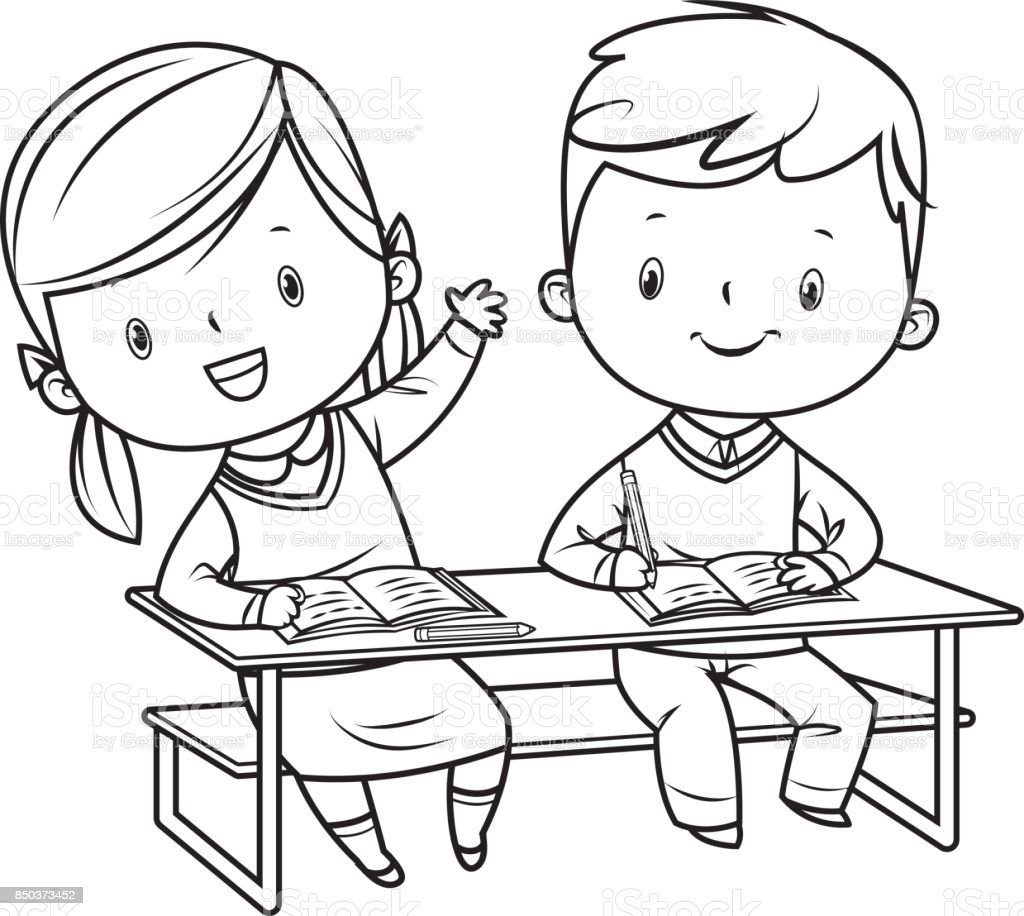 School Kids Black And White Stock Illustration - Download ...