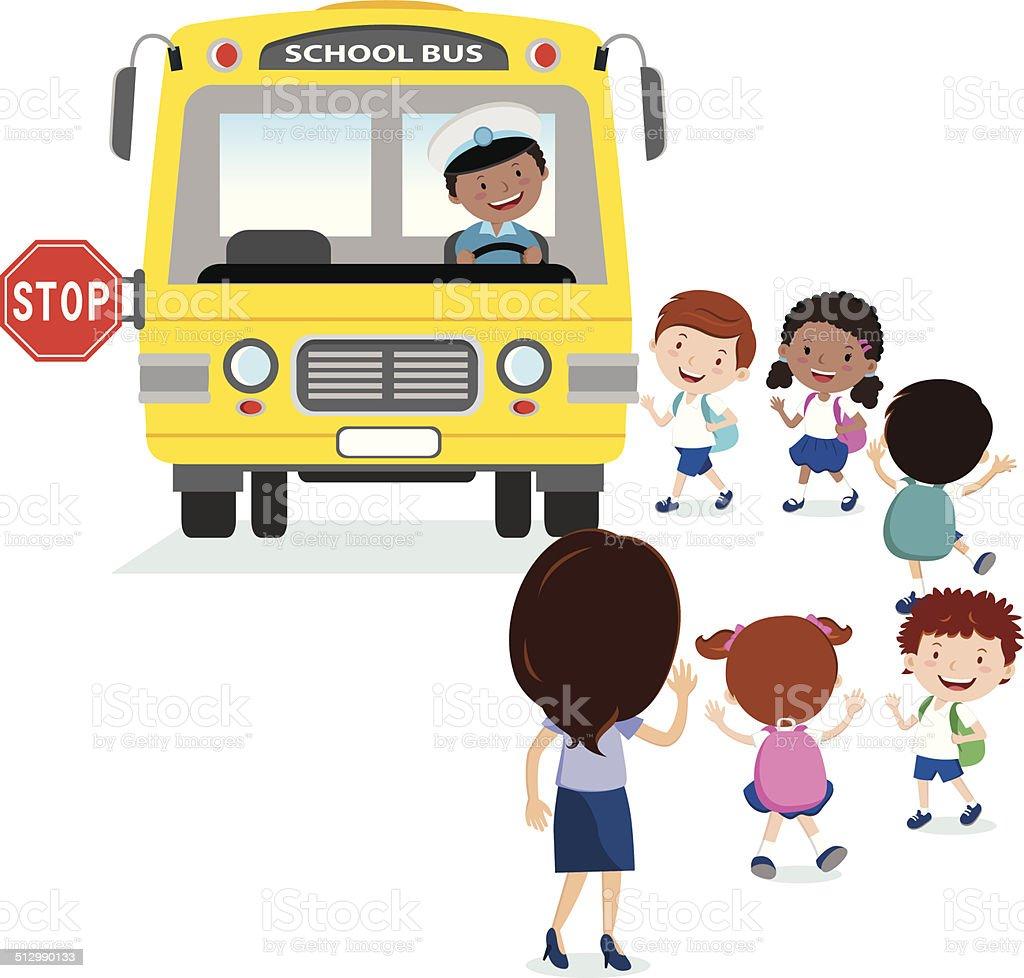 School kids boarding the bus vector art illustration