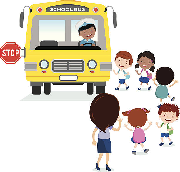 School kids boarding the bus vector art illustration