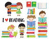 Vector illustration of school boys and girls reading and carry books. Kids reading books in school library.