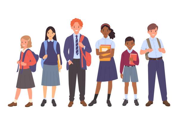illustrazioni stock, clip art, cartoni animati e icone di tendenza di school kids collection. - studenti