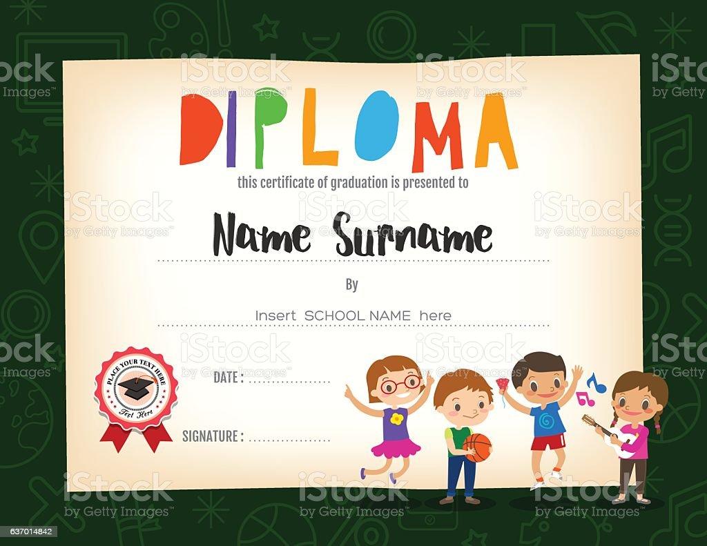 school kids diploma certificate background design template お祝い
