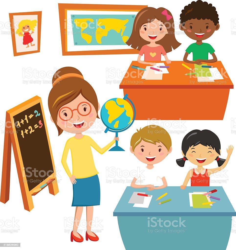 Bambini Scuola Elementare Scuola Educazione Concetto Vettoriale Di