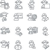 Set of 16 School kids Education related icons in thin lines. JPG file and EPS10 file.