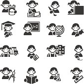 Set of 16 Schoolkids Education related icons. JPG file and EPS8 file.