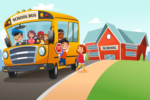 School Kids Getting Off The School Bus Illustration vector art illustration