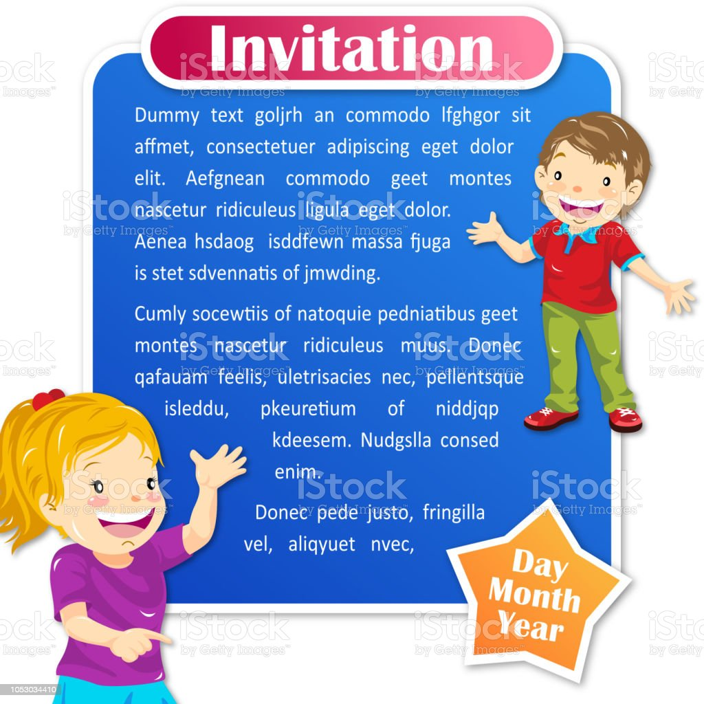 school kids invitation template stock vector art more images of