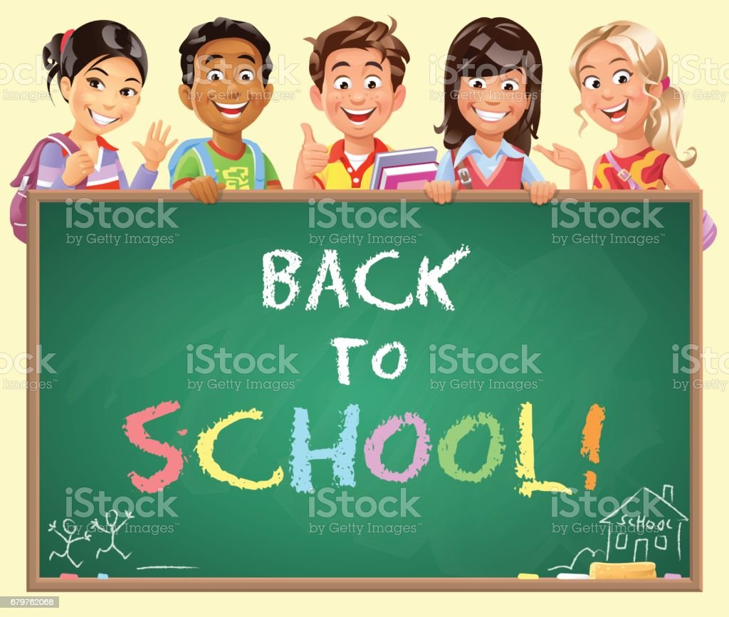 School Kids Peeking Behind Blackboard vector art illustration