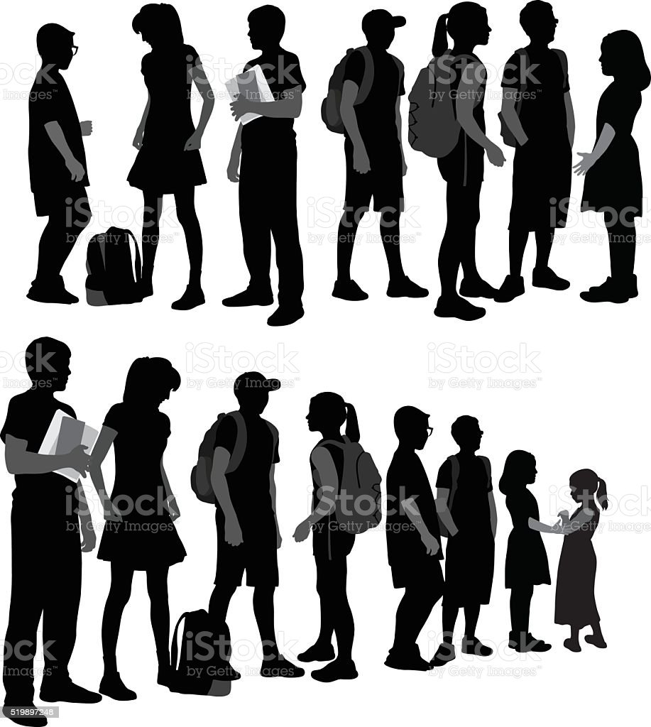 School Kids Silhouettes In A Row vector art illustration