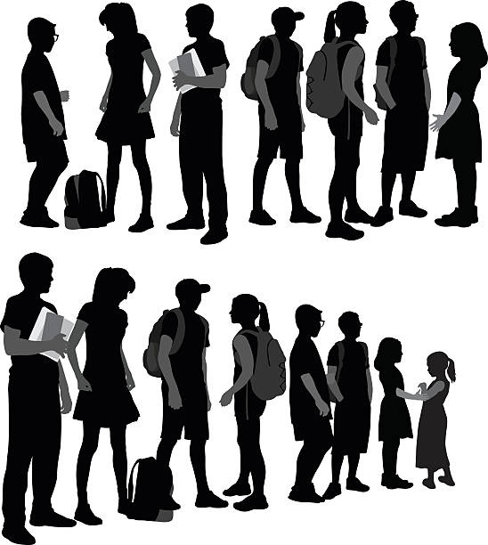 stockillustraties, clipart, cartoons en iconen met school kids silhouettes in a row - tiener