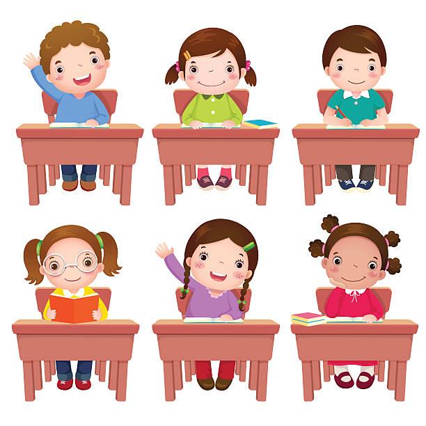 ilustrações, clipart, desenhos animados e ícones de crianças, sentado à mesa de escola - aula de redação