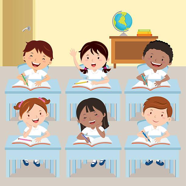 ilustrações, clipart, desenhos animados e ícones de crianças de escola estudando em sala de aula - aula de redação