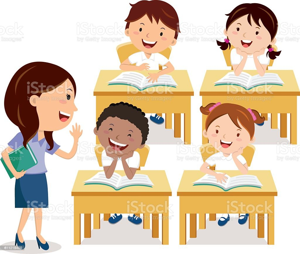 Kids Reading With Teacher Clip Art
