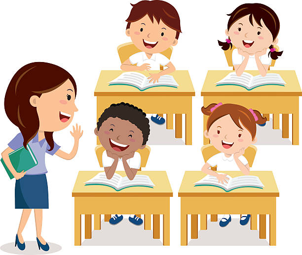 School kids studying with teacher Vector illustration of primary School children studying in the classroom. elementary school teacher stock illustrations