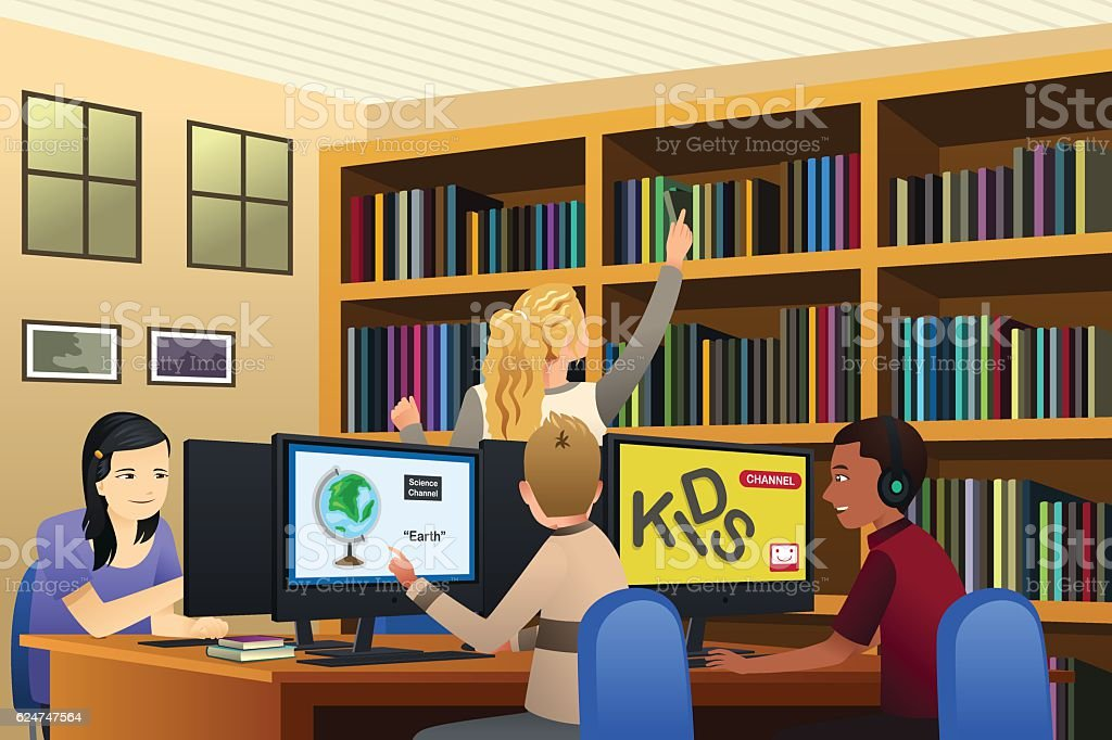 School Kids Using Computers in the Library vector art illustration