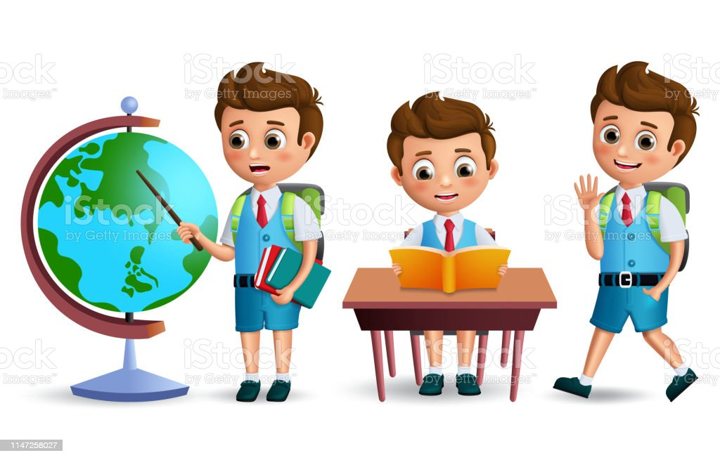 School Kids Vector Character Set Student Boy Wearing School