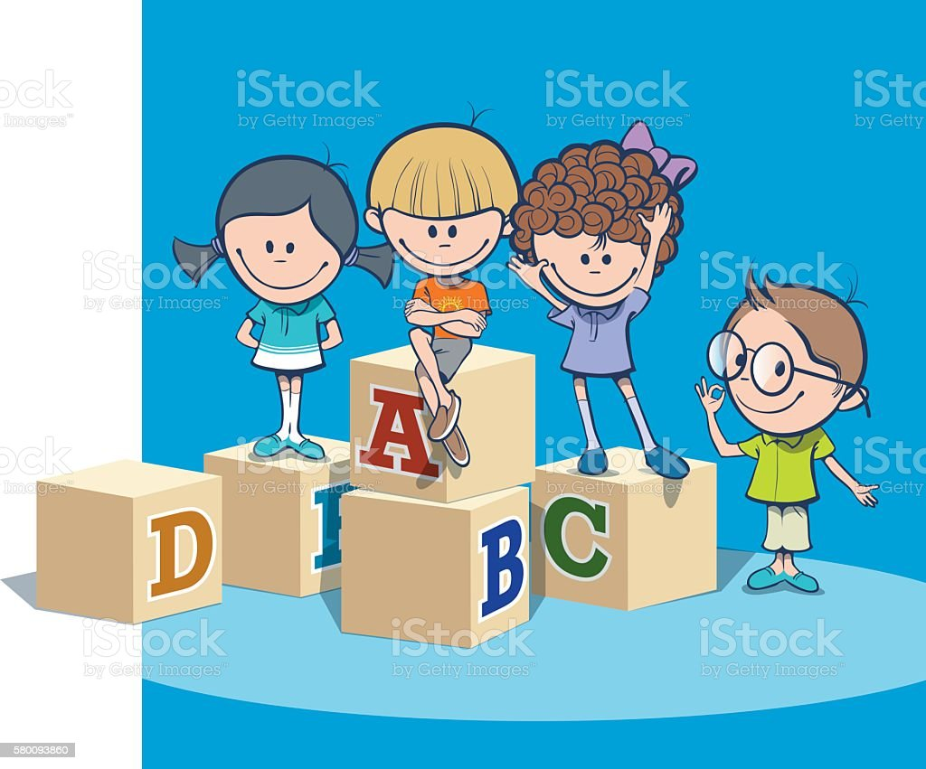 School kids vector art illustration