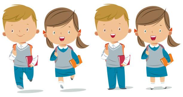 stockillustraties, clipart, cartoons en iconen met schoolkinderen - schooluniform