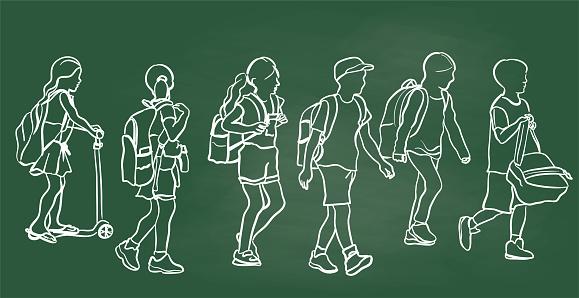 School Kids Walking Chalkboard
