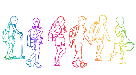 School Kids Walking Rainbow