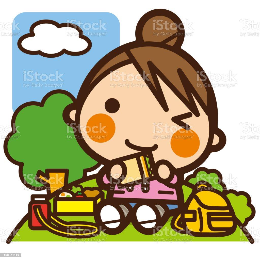 子供遠足ランチ女子校生 - お弁当のベクターアート素材や画像を多数ご