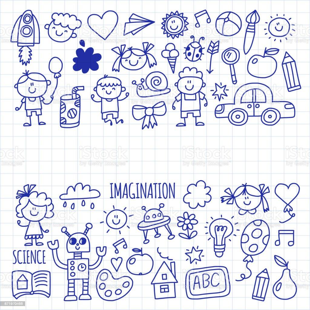 Schule Kindergarten Glückliche Kinder Kreativität Phantasie Doodle ...