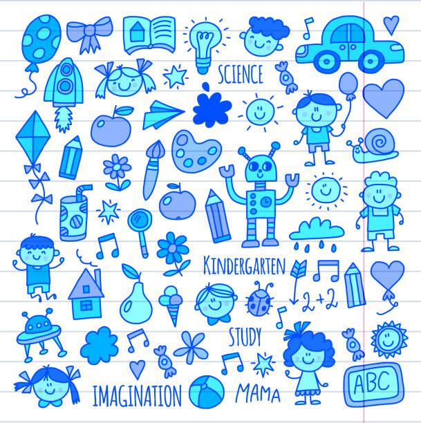 schule, kindergarten. glückliche kinder. kreativität, phantasie doodle symbole mit kindern. spielen, lernen, wachsen glückliche studenten wissenschaft und forschung abenteuer zu erkunden - forschungsurlaub stock-grafiken, -clipart, -cartoons und -symbole