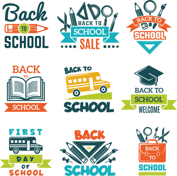 School labels set. Back to school theme vector art illustration