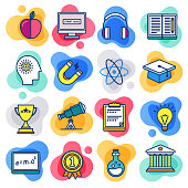 School learning and motivation liquid flat line flow style symbols. Flat line design vector icons set for infographics, mobile and web designs.