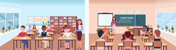 bildbanksillustrationer, clip art samt tecknat material och ikoner med skolan lektion kvinnlig lärare med elever som fram sidan syn på klass rummet moderna skolan interiör utbildning konceptet horisontella banner full längd platt - klassrum