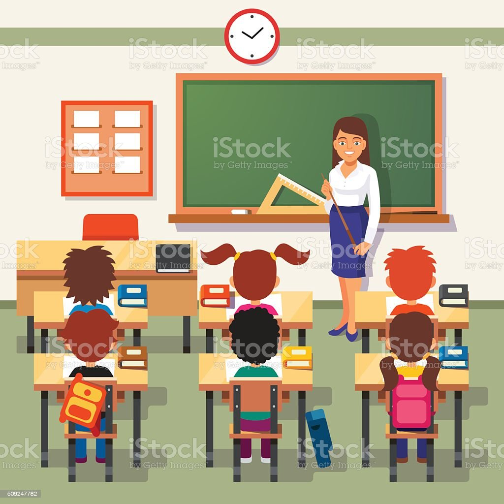 School lesson. Little students and teacher School lesson. Little students and teacher. Classroom with green chalkboard, teachers desk, pupils tables and chairs. Flat style cartoon vector illustration. Adult stock vector