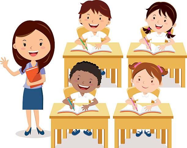ilustrações, clipart, desenhos animados e ícones de aula de escola - aula de redação
